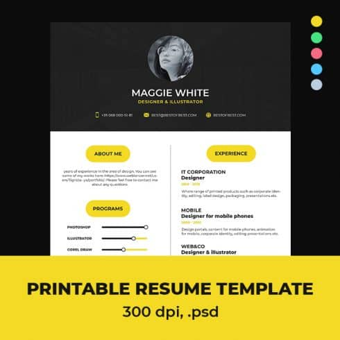 Pink Dance Resume Template Indesign: 2 Variants - 6901 490x490