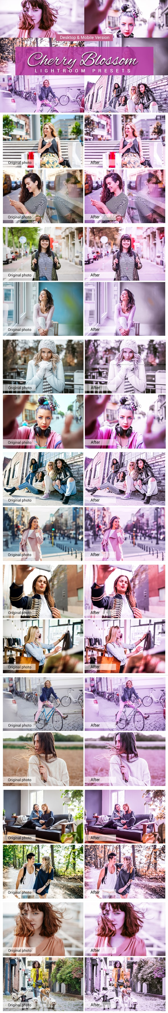 7500 New Complete Bundle Presets Lightroom, Photoshop Actions and Cinematic LUTs - Cherry Blossom Preview min