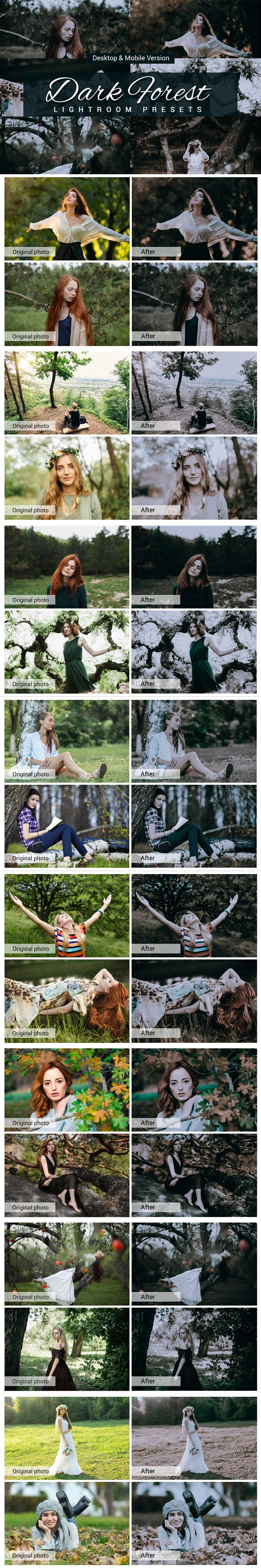 7500 New Complete Bundle Presets Lightroom, Photoshop Actions and Cinematic LUTs - Dark Forest Preview min