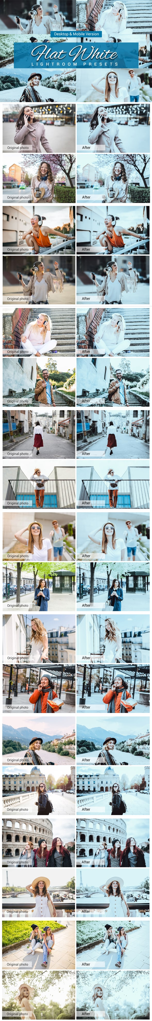 7500 New Complete Bundle Presets Lightroom, Photoshop Actions and Cinematic LUTs - Flat White Preview min