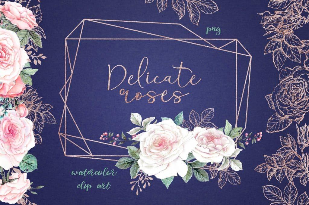 Delicate Roses Watercolor Clip Art - $15 - Image00001
