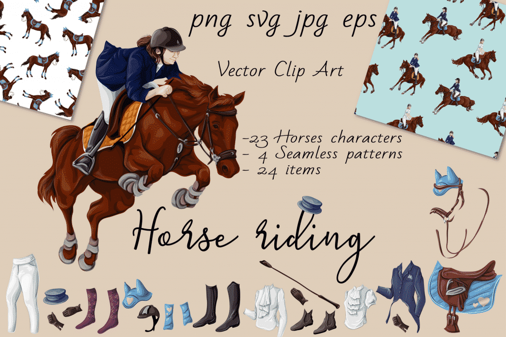 Horse Riding Vectors: patterns, cards and items - $18 - Image00001