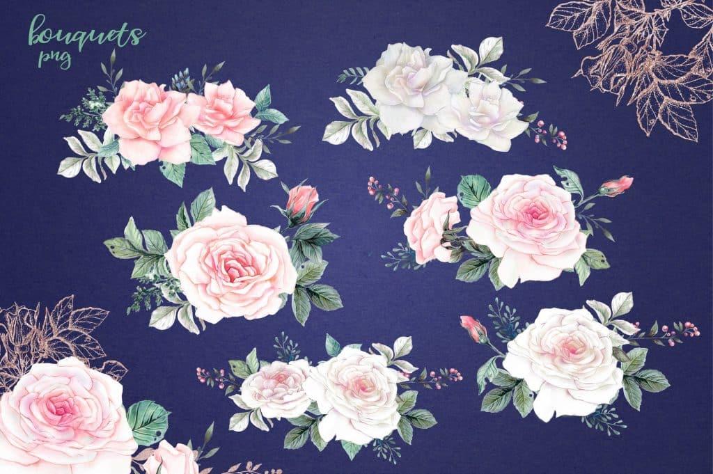 Delicate Roses Watercolor Clip Art - $15 - Image00002