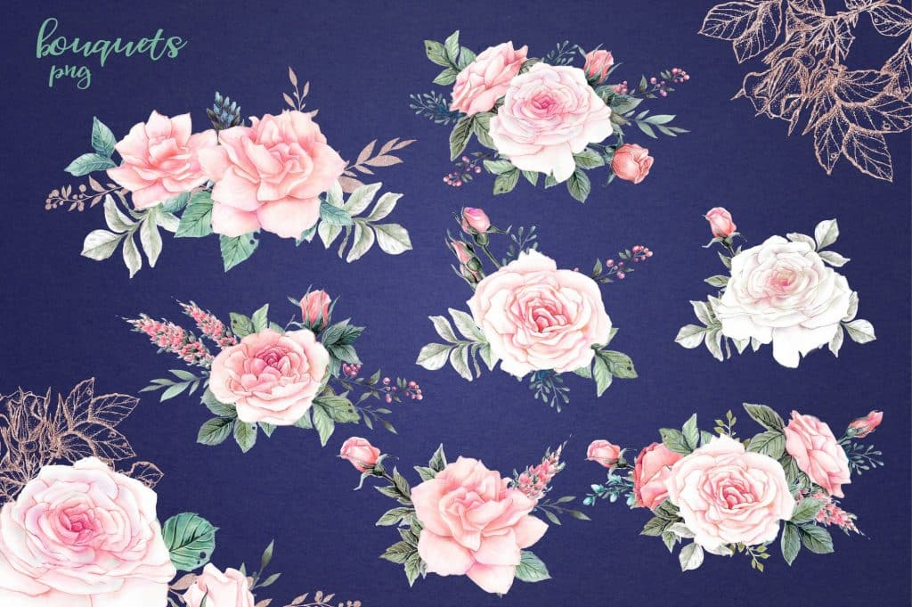Delicate Roses Watercolor Clip Art - $15 - Image00003