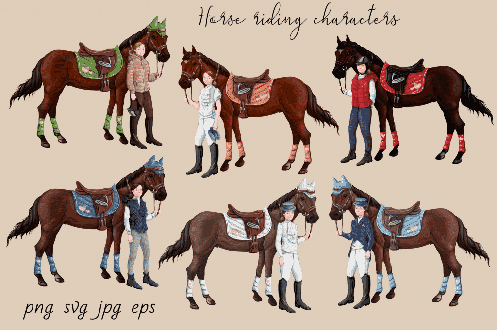Horse Riding Vectors: patterns, cards and items - $18 - Image00003