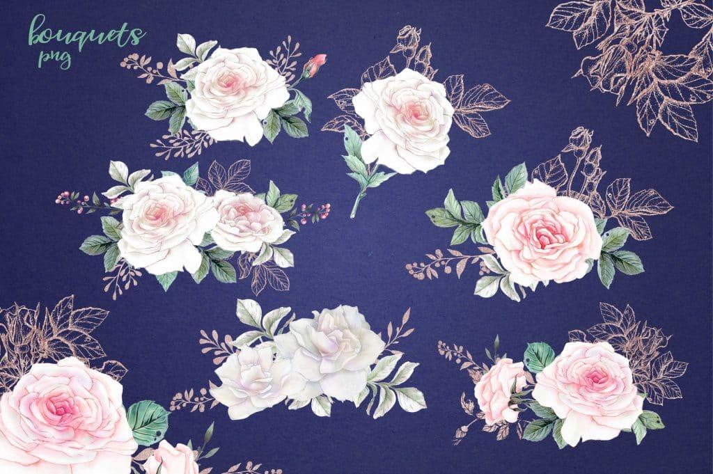 Delicate Roses Watercolor Clip Art - $15 - Image00004