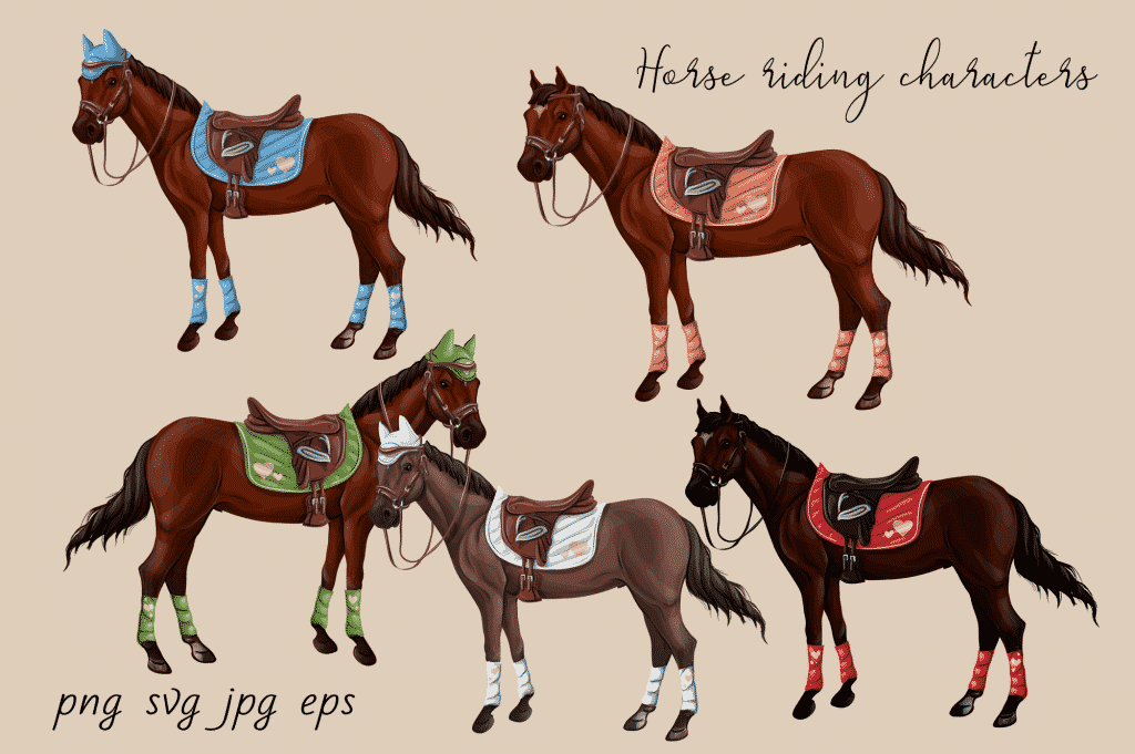 Horse Riding Vectors: patterns, cards and items - $18 - Image00004