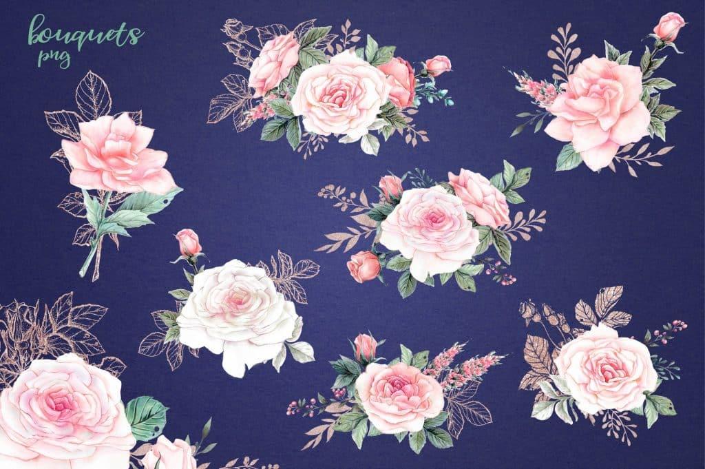 Delicate Roses Watercolor Clip Art - $15 - Image00005