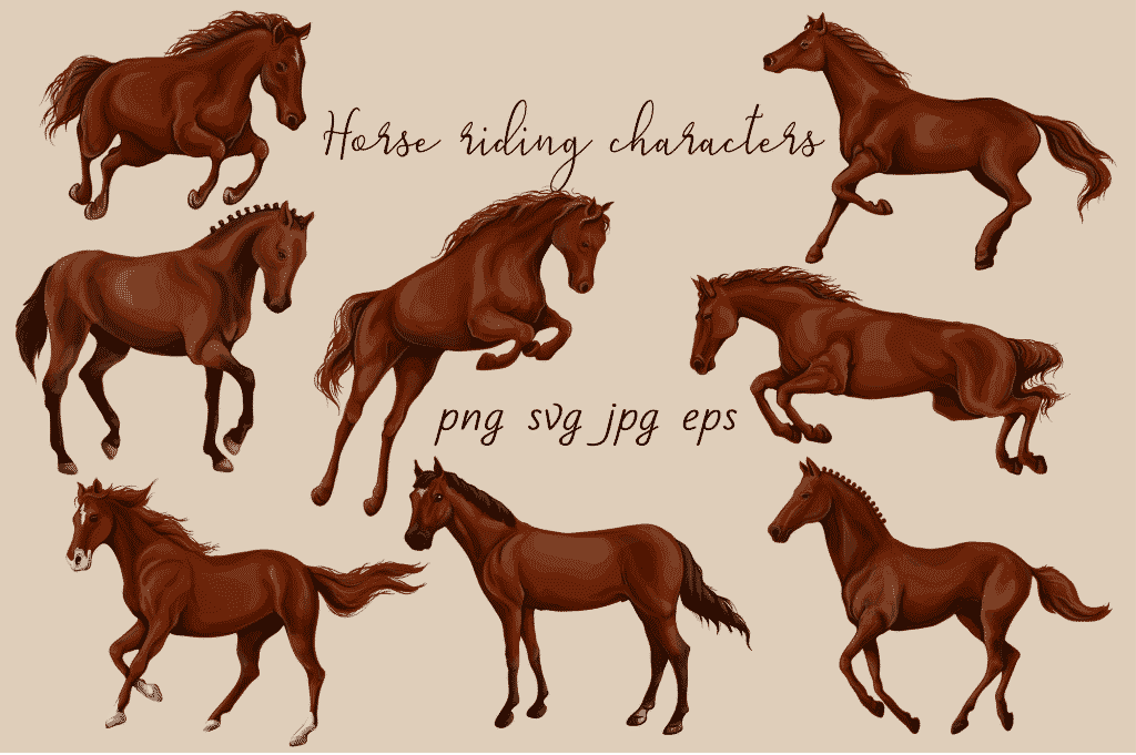 Horse Riding Vectors: patterns, cards and items - $18 - Image00005