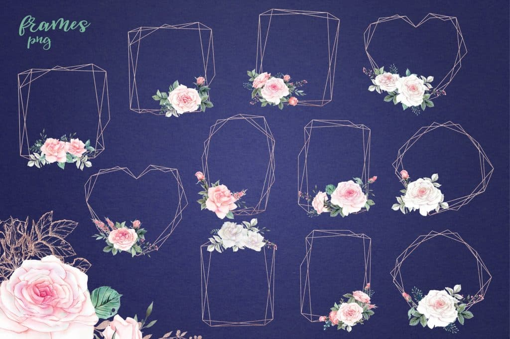 Delicate Roses Watercolor Clip Art - $15 - Image00006