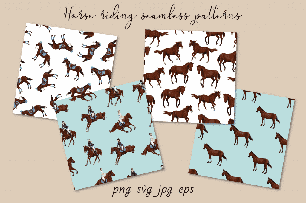 Horse Riding Vectors: patterns, cards and items - $18 - Image00006