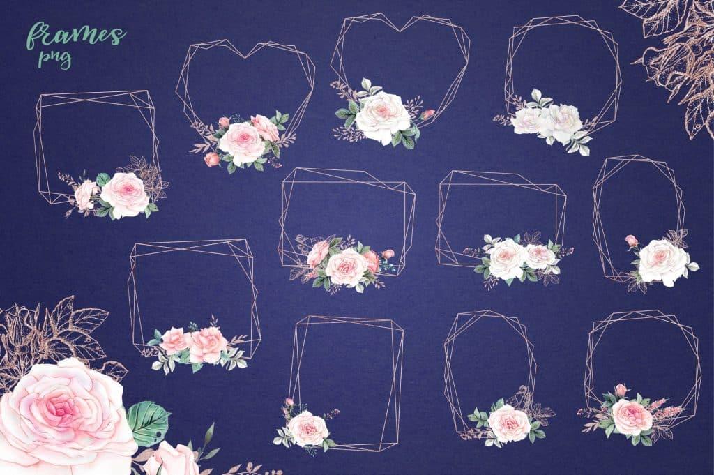 Delicate Roses Watercolor Clip Art - $15 - Image00007