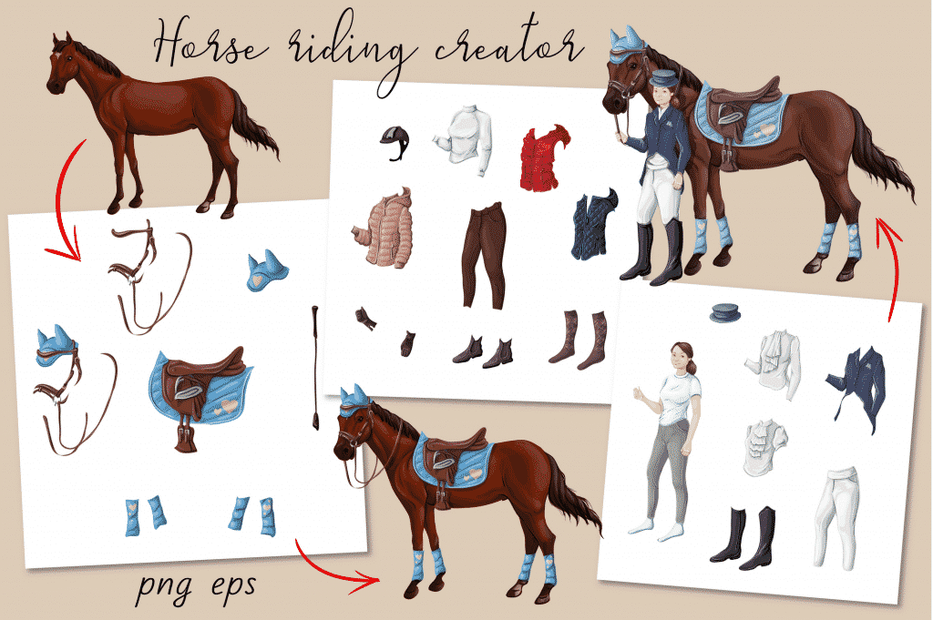 Horse Riding Vectors: patterns, cards and items - $18 - Image00007