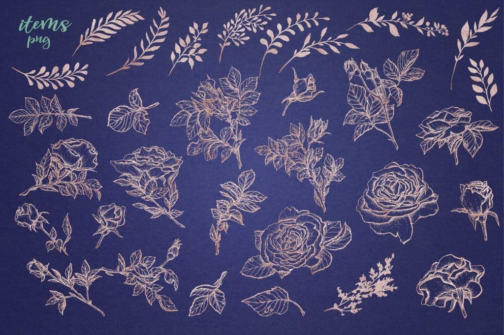 Delicate Roses Watercolor Clip Art - $15 - Image00009