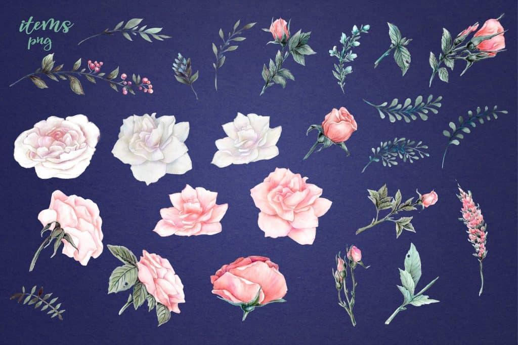 Delicate Roses Watercolor Clip Art - $15 - Image00011