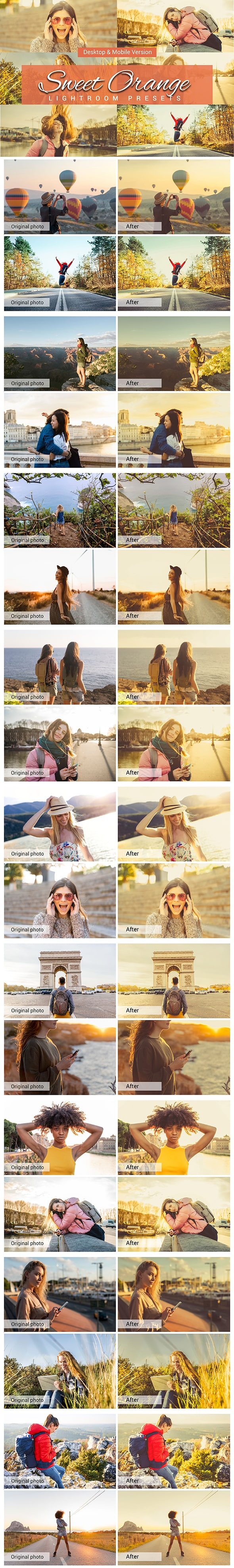 7500 New Complete Bundle Presets Lightroom, Photoshop Actions and Cinematic LUTs - Sweet Orange Preview min