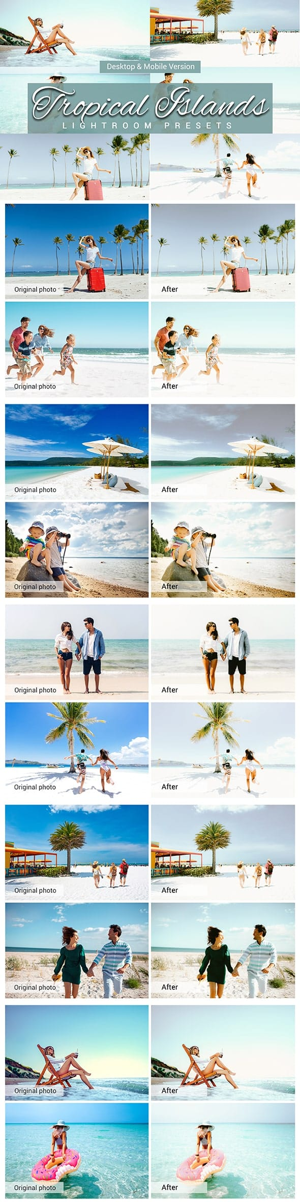7500 New Complete Bundle Presets Lightroom, Photoshop Actions and Cinematic LUTs - Tropical Islands Preview min