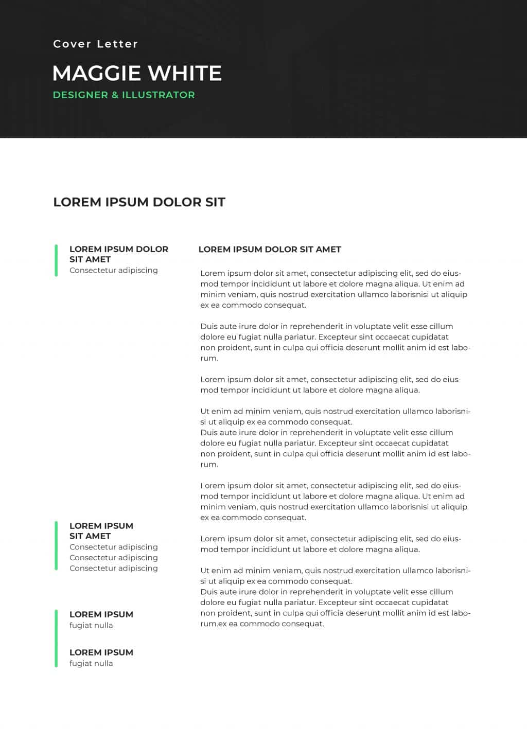 Best College Resume Templates 2020: 5 colors - $8 - cover letter 3