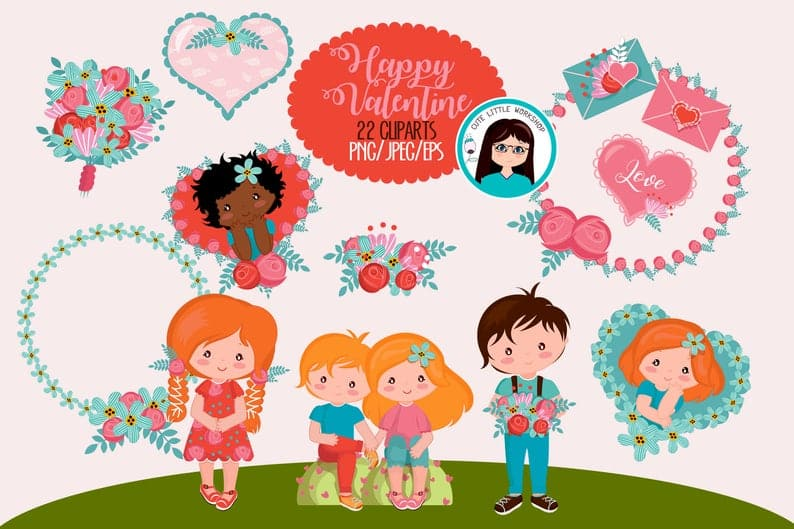22 Cute Valentine Cliparts - $5 - il 794xN.2139266060 14mf