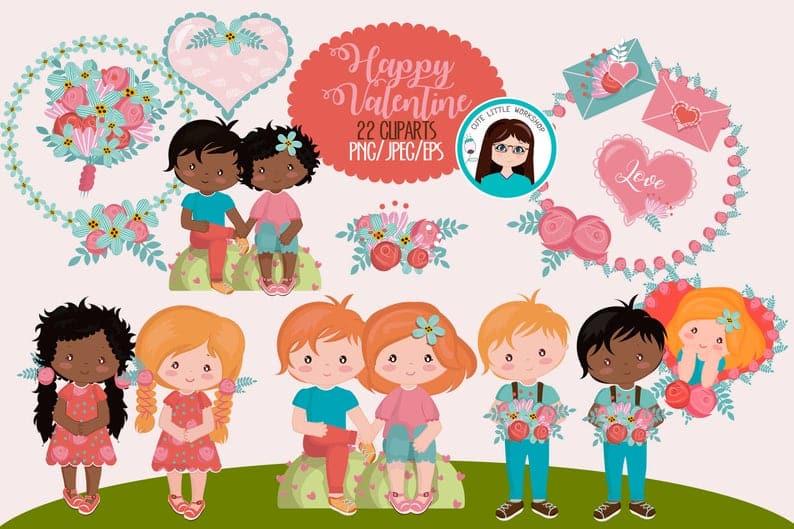 22 Cute Valentine Cliparts - $5 - il 794xN.2139266064 4lzs