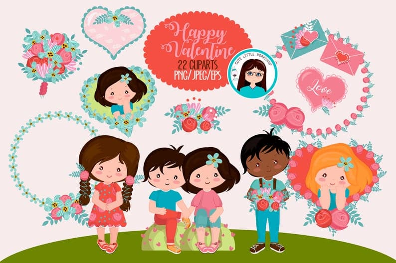 22 Cute Valentine Cliparts - $5 - il 794xN.2186816179 qyaj
