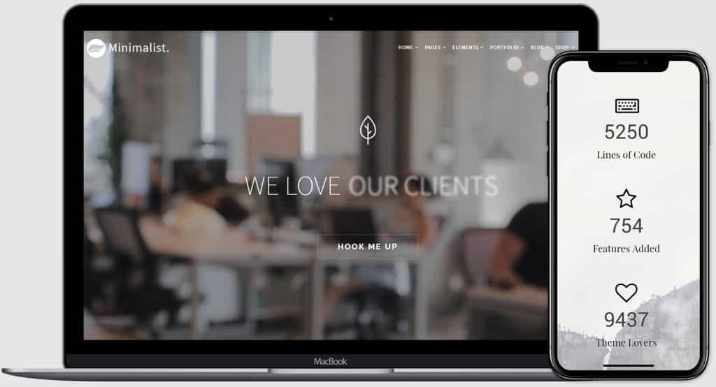 Minimalist WordPress Theme - $25 - minimalist preview visualmodo product page