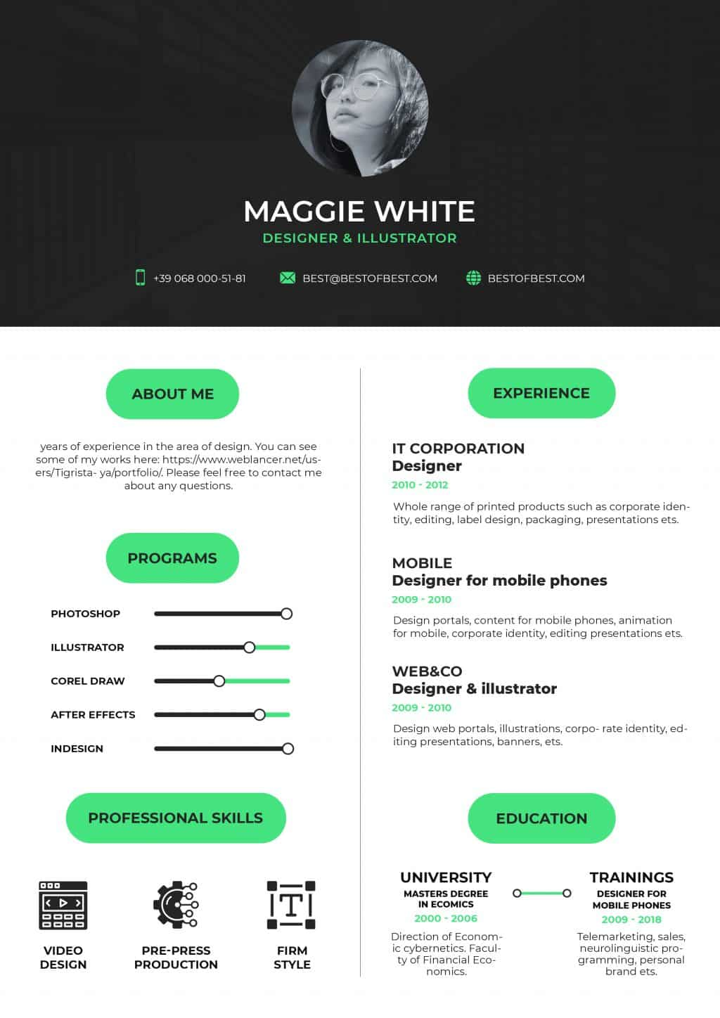 Best College Resume Templates 2020: 5 colors - $8 - resume 1 1