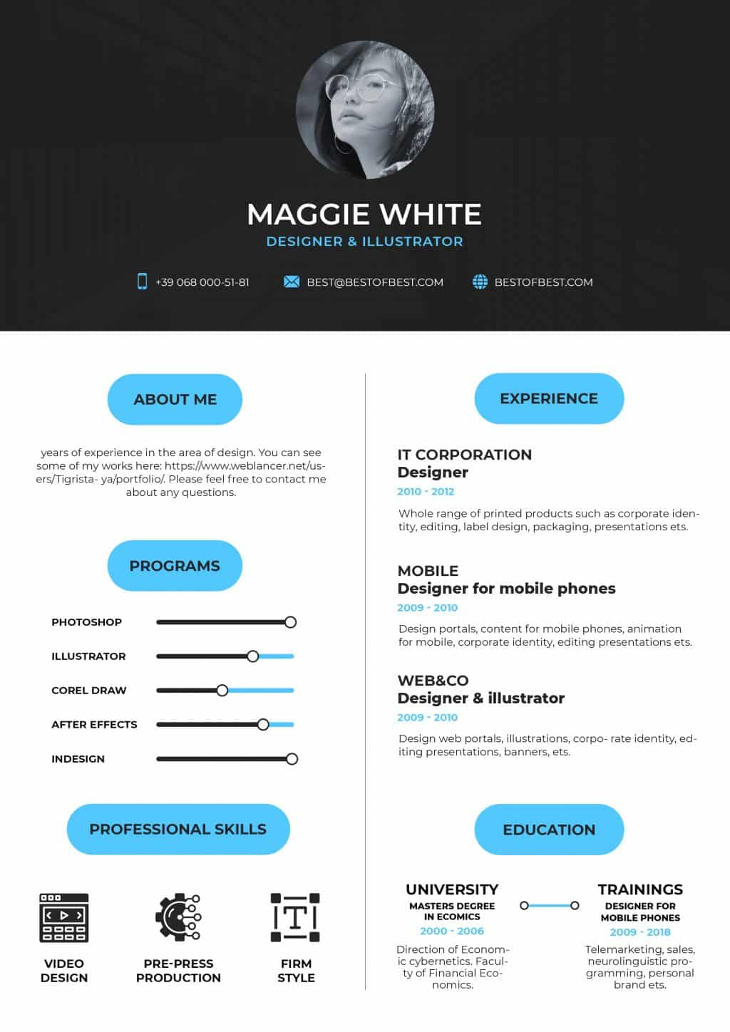Best College Resume Templates 2020: 5 colors - $8 - resume 1 2