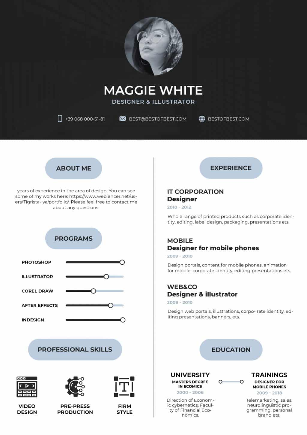 Best College Resume Templates 2020: 5 colors - $8 - resume 1