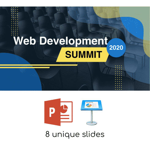 Free Clean Presentation for Events: .PPTX, .KEY | 8 Slides - thumbnail web development summit 01 490x490