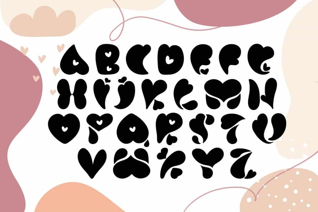 Best Font With Hearts. Love You Hand Drawn Valentine Font - $10 - title05