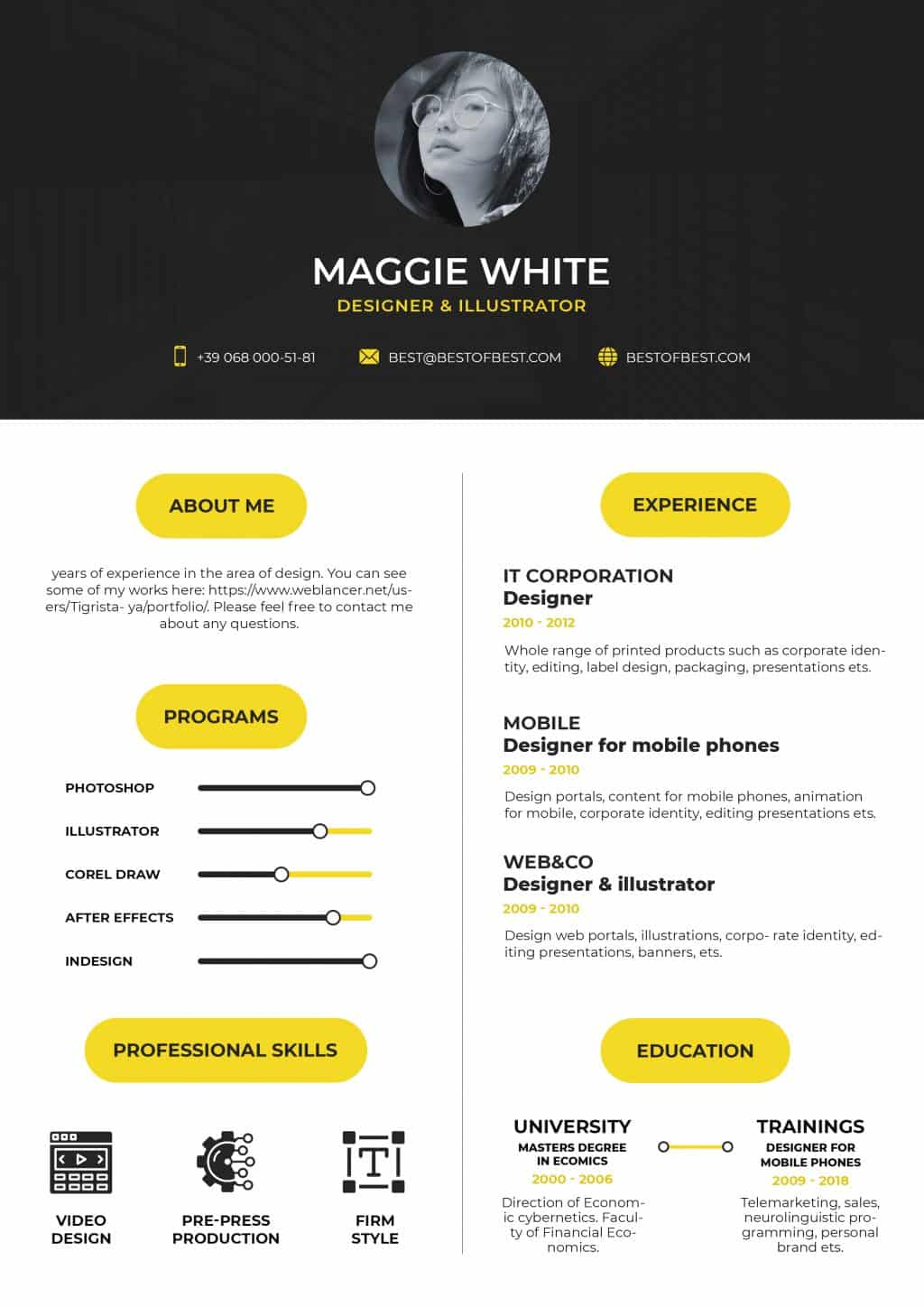 Best College Resume Templates 2020: 5 colors - $8 - yellow