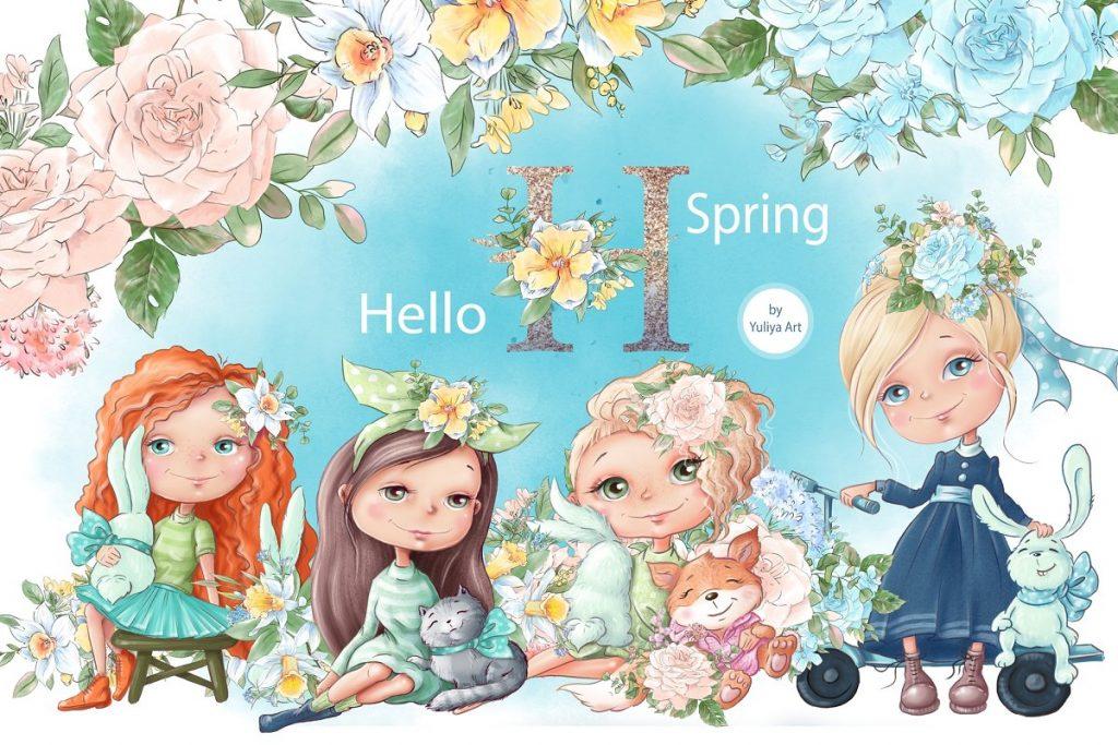 Spring Watercolor Illustrations:  Girls  + Free Bonus - $22 - 1 2 1