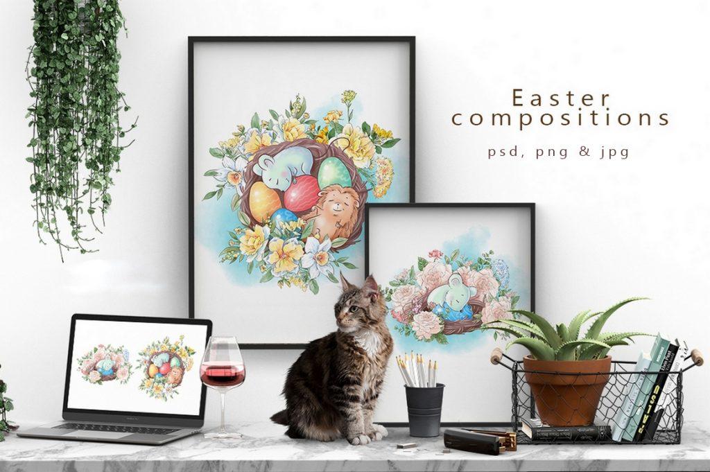 Spring Watercolor Illustrations:  Girls  + Free Bonus - $22 - 1 5