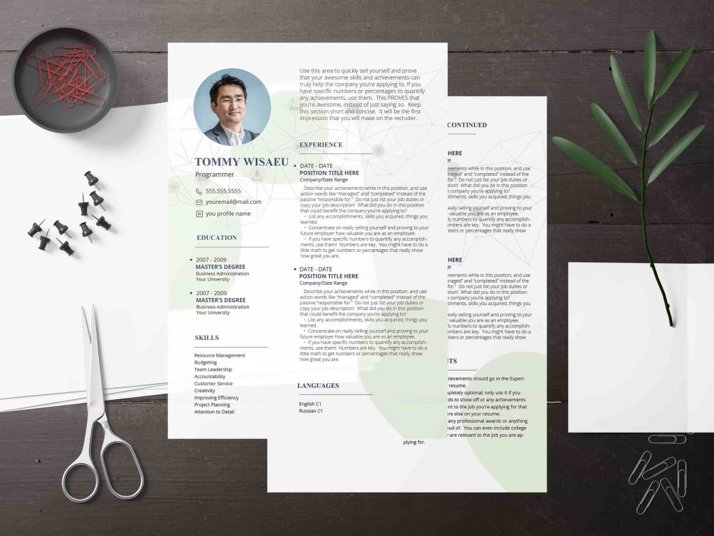 product manager resume  2 templates in 5 color schemes