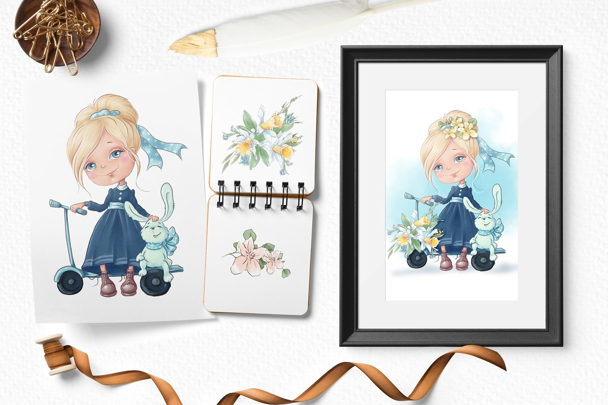 Spring Watercolor Illustrations:  Girls  + Free Bonus - $22 - 11 2