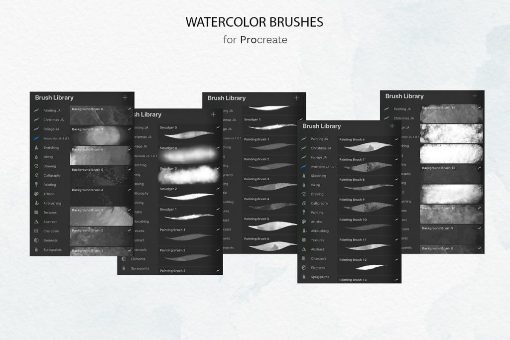 38 Procreate Watercolor Brush Set - $14 - 12 2 1