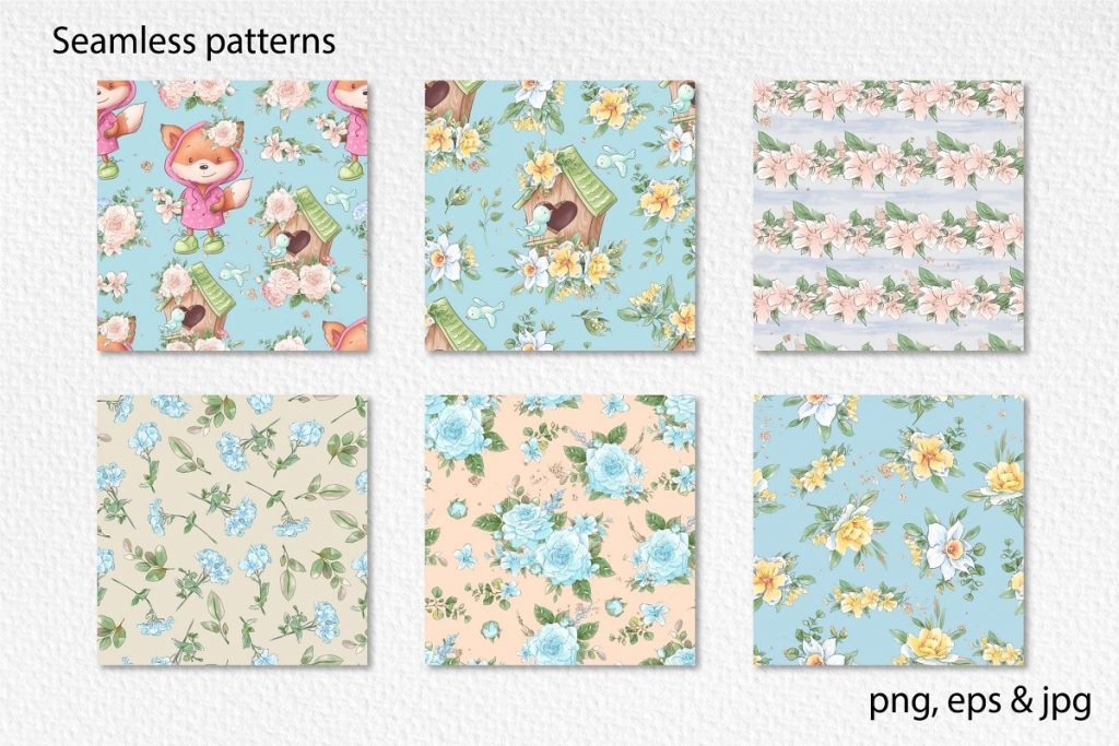 Spring Watercolor Illustrations:  Girls  + Free Bonus - $22 - 18