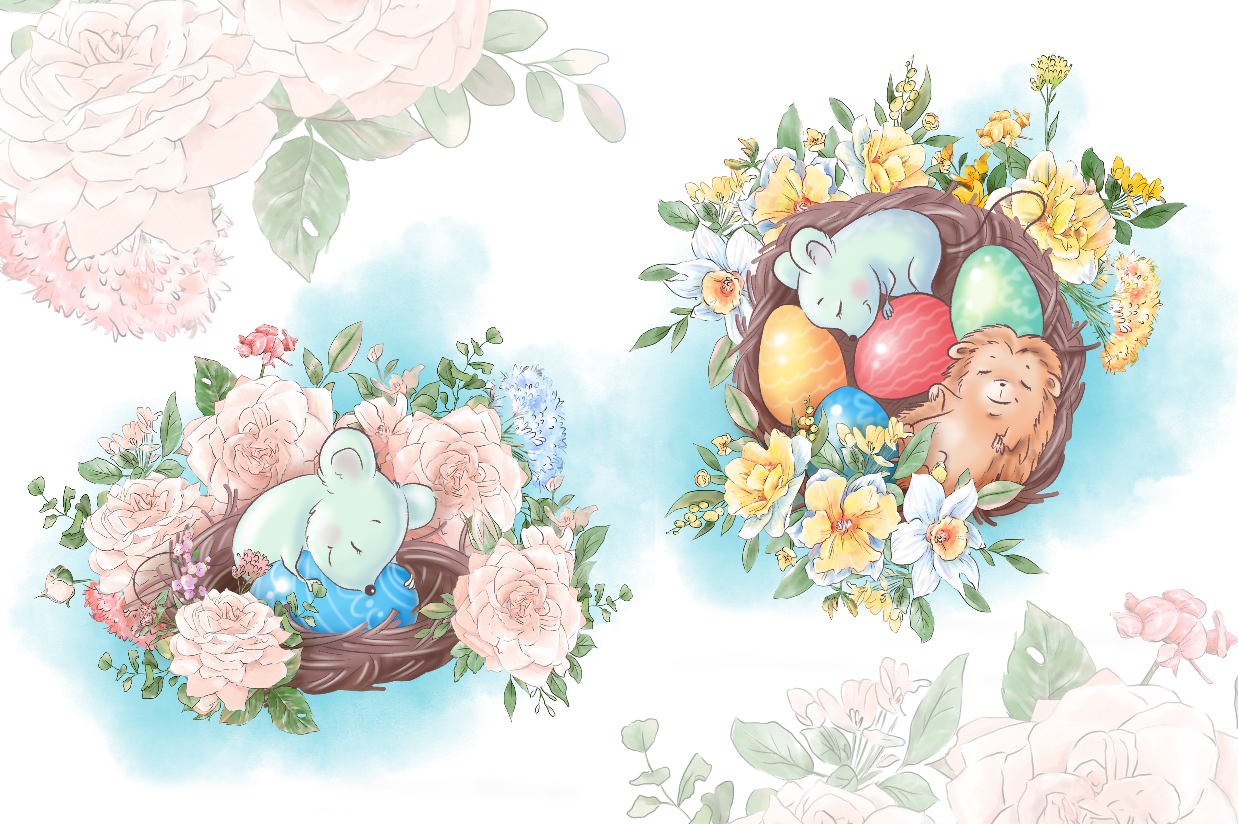 Free Easter Watercolor Compositions - $0 - 2 5