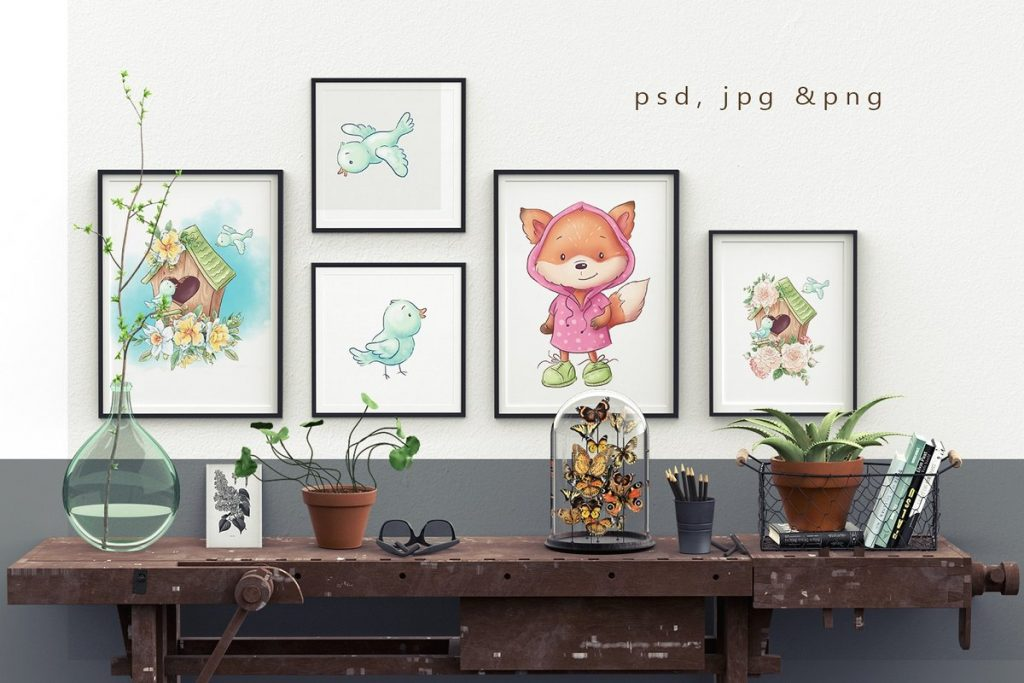 Spring Watercolor Illustrations:  Girls  + Free Bonus - $22 - 21
