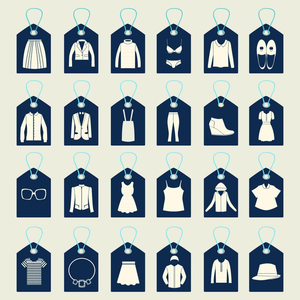 Fashion Illustration Bundle:  Clothing Business Icons and illustrations - 22949812
