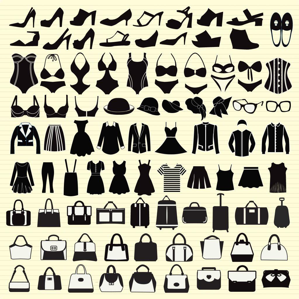 Fashion Illustration Bundle:  Clothing Business Icons and illustrations - 22949990