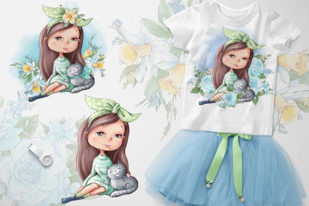 Spring Watercolor Illustrations:  Girls  + Free Bonus - $22 - 3 3 1
