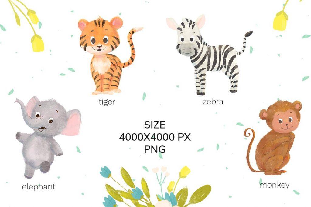 30 Wild Little Animals Hand-drawn Illustrations - 3 4 1