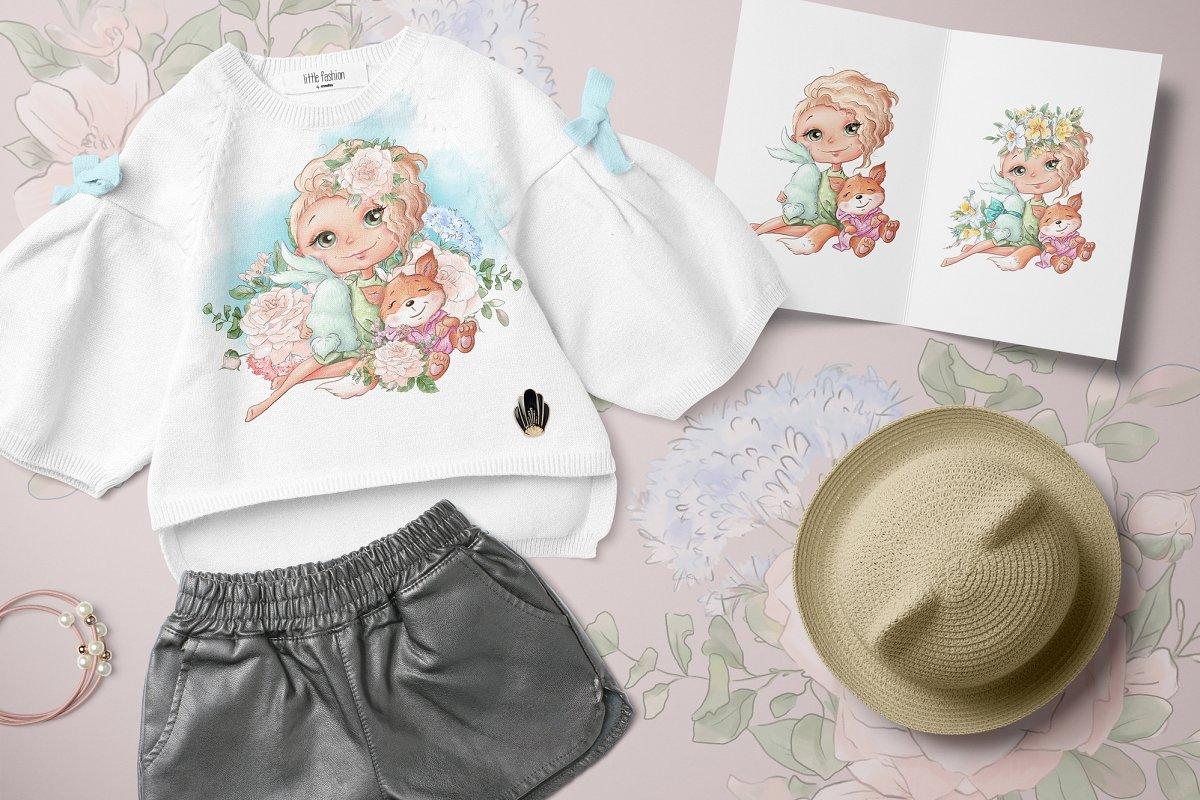 Spring Watercolor Illustrations:  Girls  + Free Bonus - $22 - 4 3 1