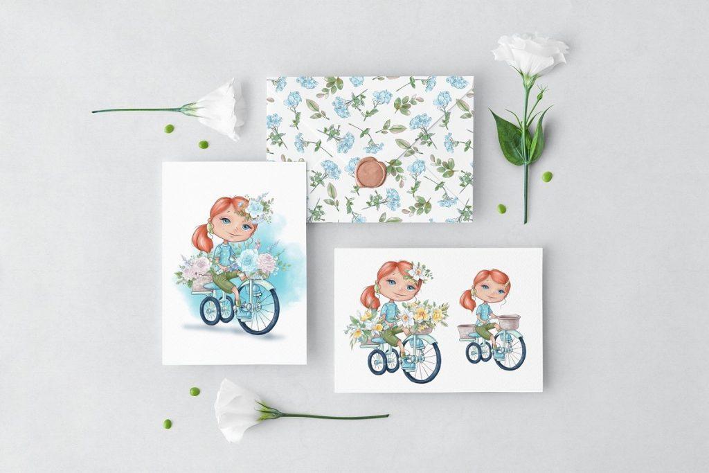 Spring Watercolor Illustrations:  Girls  + Free Bonus - $22 - 6 2