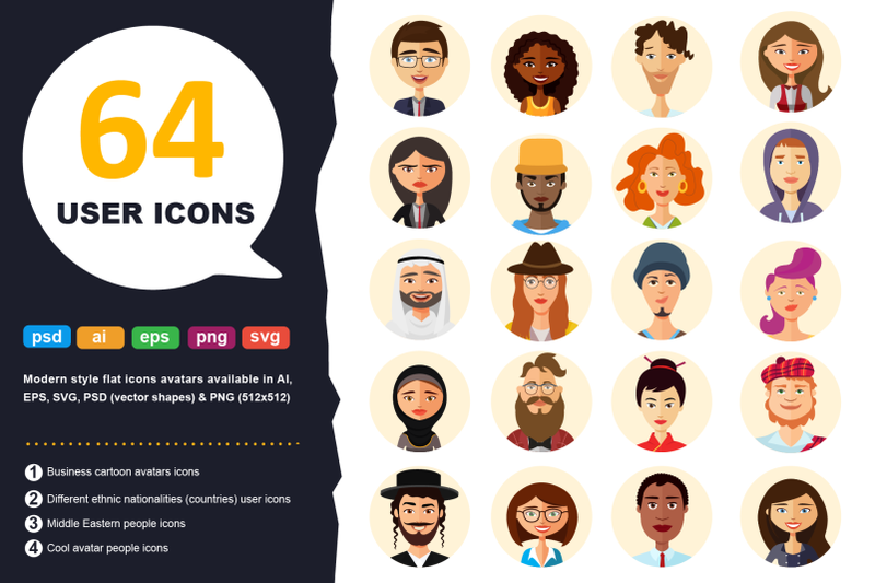 64 Avatars Flat Icons User Vector Cartoon Jewish Set - $20 - 800 3602237 iojrvhzyosmq0m5lengayz8iyimioxezuv45d2qu 64 avatars flat icons user vector cartoon jewish set