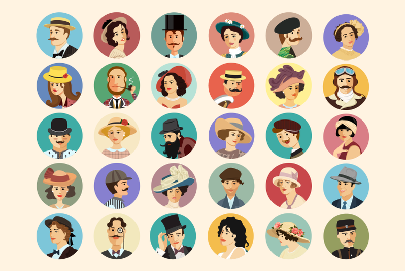 30 Retro Avatars: People Vector Cartoon Collection + Free Bonus (backgrounds & ribbons) - 800 3671030 zzq1oetbe9vz26xcau1a34374out7w89gmtxffkj avatars retro people vector cartoon collection