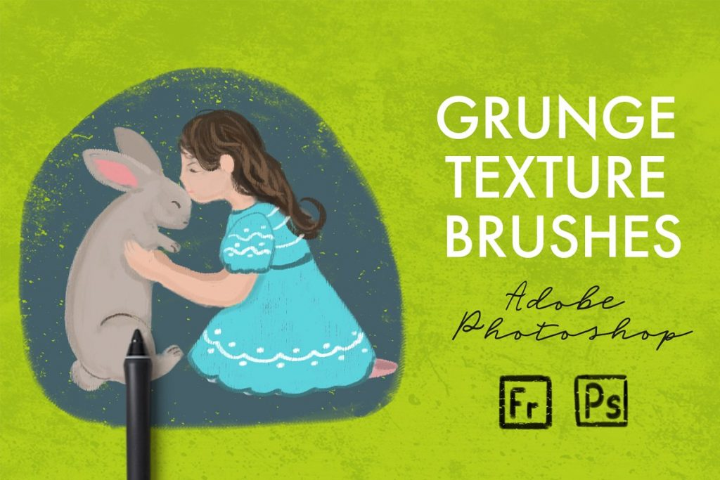 15 Grunge Texture Brushes - Photoshop Add-Ons - $11 only - cover product pinterest