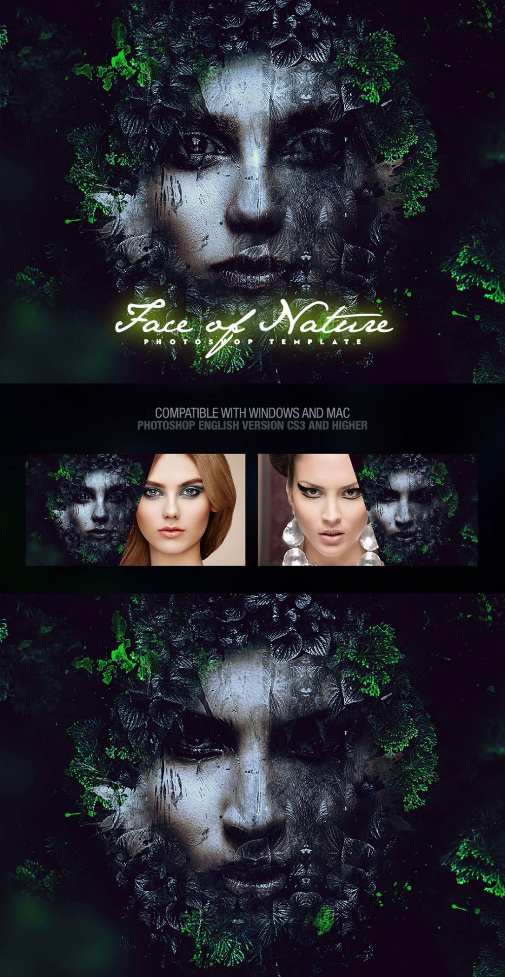 Photoshop Actions & Templates: Artistic Photo FX Bundle - face of nature photo template design by amorjesu